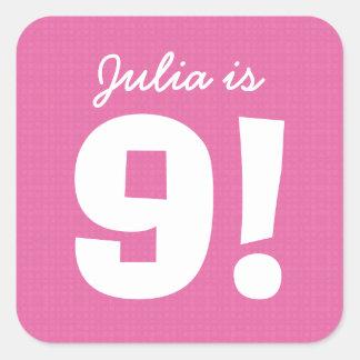 9th Birthday Custom Name Pink White for GIRL B9Z Square Sticker