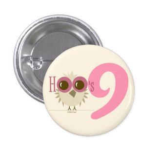 9th Birthday Cute Retro Owl Button Cool Pink Girl