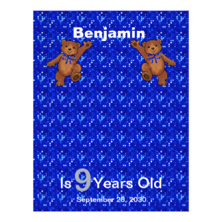 9th Birthday Dancing Bear Scrapbook Paper 1 Flyers