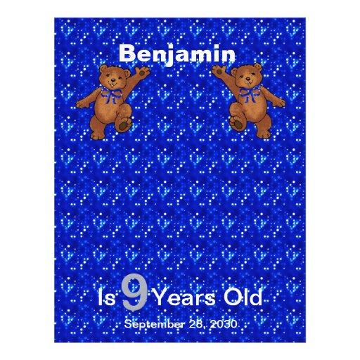 9th Birthday Dancing Bear Scrapbook Paper 1 Flyers
