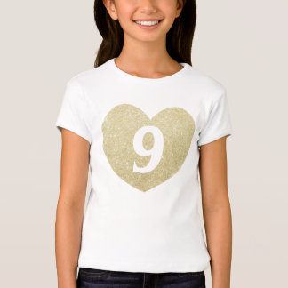 9th Birthday Girl Glitter heart Personalized Shirts