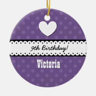 9th Birthday Girl Heart and Scalloped Ribbon A13Z Double-Sided Ceramic Round Christmas Ornament