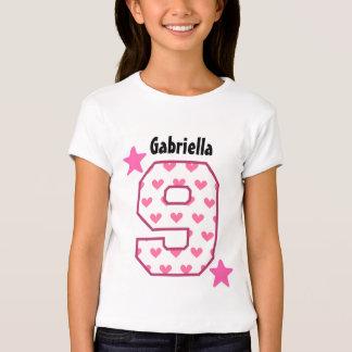 9th Birthday Girl HEARTS Nine Year Custom V07F T-Shirt