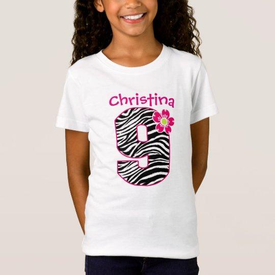 9th Birthday Girl Hot Pink & Black Zebra