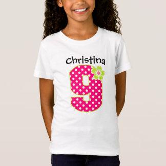 9th Birthday Girl Hot Pink & Green Dots T-Shirt