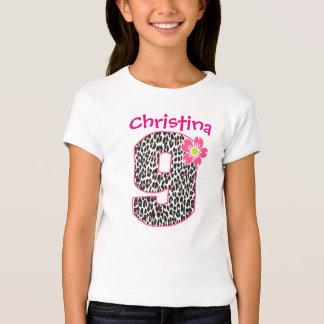 9th Birthday Girl Hot Pink & leopard print pattern T-Shirt