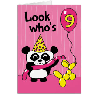 9th Birthday - Girl Panda with Balloons Greeting Card
