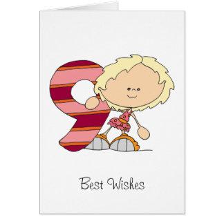 9th Birthday - Greetings Card - Girl