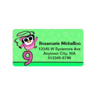 9th Birthday - Gymnast Penguin Address Label