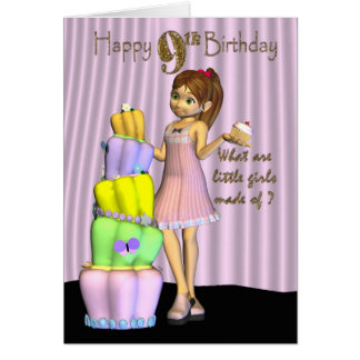 9th Birthday, Happy Birthday Card little girl with