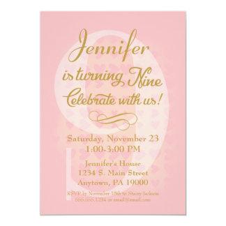 9th Birthday Invitation Girls Pink Gold Hearts