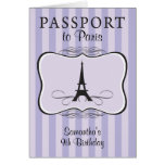 9TH Birthday Paris Passport Invitation Greeting Cards
