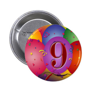 9th Birthday Party Colorful balloons 6 Cm Round Badge