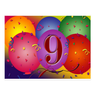 9th Birthday Party Colorful balloons Postcard