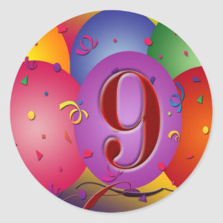 9th Birthday Party Colorful balloons Round Sticker