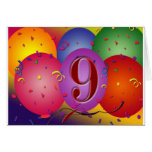 9th Birthday Party Colourful balloons Card