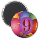 9th Birthday Party Colourful balloons Fridge Magnet