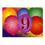 9th Birthday Party Colourful balloons Postcard
