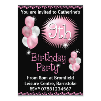 Girls 9th Birthday Party Invitations & Announcements | Zazzle.co.uk