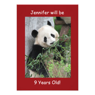 9th Birthday Party Invitation Giant Pandas Red Personalized Invitation