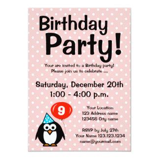 "9th Birthday party invitations with funny penguin 5"" X 7"" Invitation Card"
