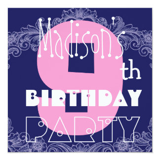 """9th Birthday Party Kid's Modern Big Number Girl 5.25"""" Square Invitation Card"""