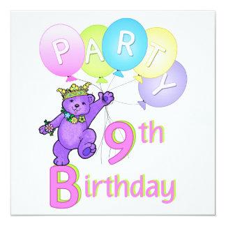 "9th Birthday Party Princess Bear Balloons 5.25"" Square Invitation Card"