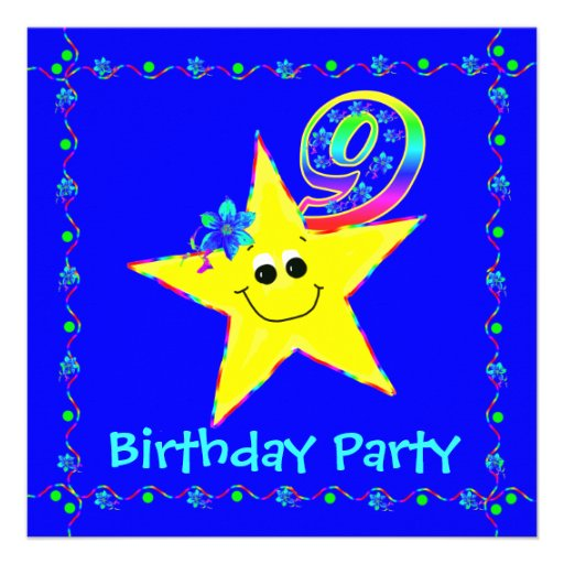 9th Birthday Party Smiley Stars Invitations