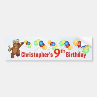 9th Birthday Party Teddy Bear Prince Car Bumper Sticker