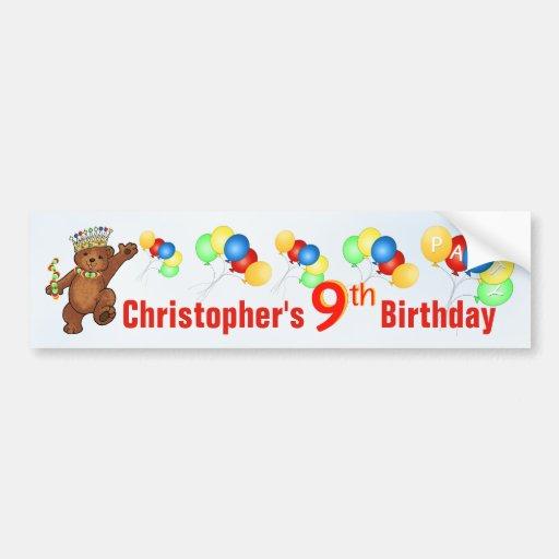 9th Birthday Party Teddy Bear Prince Bumper Sticker