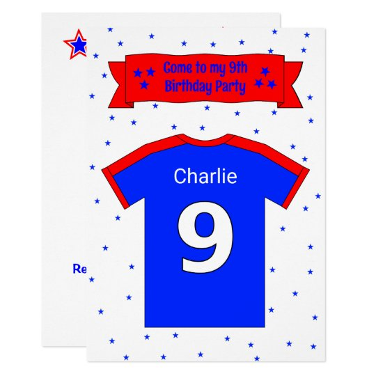 9th birthday personalised party invitation