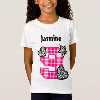 9th Birthday Plaid and Zebra Hearts 9 Year Old 10J T-Shirt