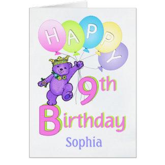 9th Birthday Princess Bear, Custom Name Greeting Card