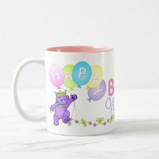 9th Birthday Princess Bear Happy Two-Tone Mug