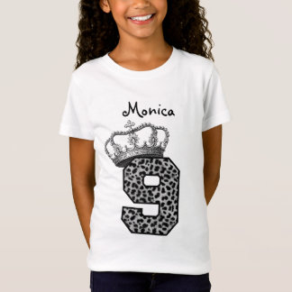 9th Birthday Princess Crown and Snow Leopard V09 T-Shirt