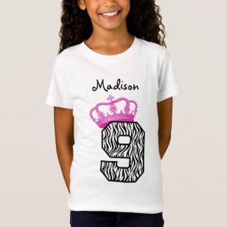 9th Birthday Princess Crown and Zebra V01 T-Shirt