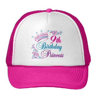 9th Birthday Princess Trucker Hats