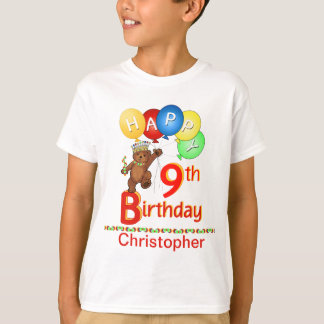 9th Birthday Regal Teddy Beary Custom Name T-Shirt