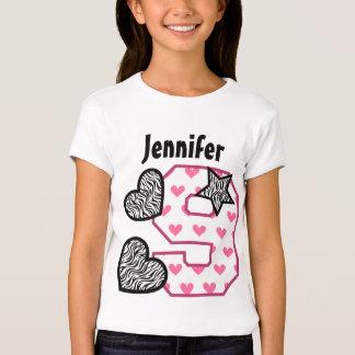 9th Birthday Zebra Hearts Nine Year Old 10H Tshirts