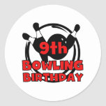 9th Bowling Birthday Classic Round Sticker