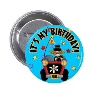 9th Brthday Clown 6 Cm Round Badge