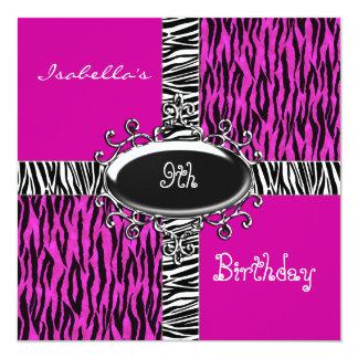 9th Girls Birthday Wild Pink Animal Black 13 Cm X 13 Cm Square Invitation Card