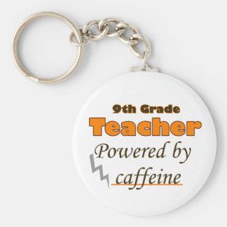 9th Grade Teacher Powered by caffeine Basic Round Button Key Ring