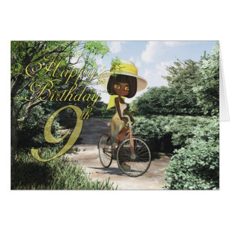 9th Happy Birthday Little Girl on Footpath Riding Greeting Card