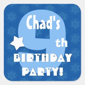 9th Kids Birthday Party Custom Name V8 Square Sticker