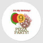 9th Pizza Party Birthday Round Stickers