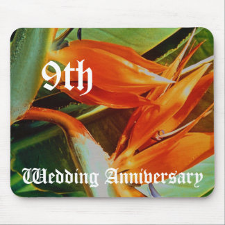 9th wedding anniversary - Birds of paradise Mouse Mat