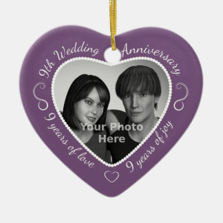 9th Wedding Anniversary Photo Ceramic Heart Decoration