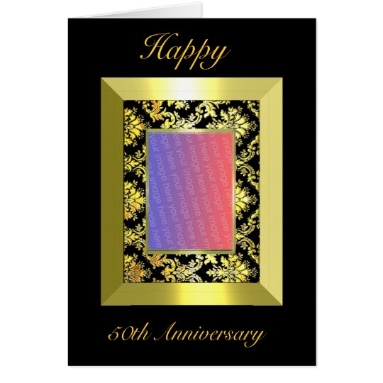 A1 50th Anniversary Gold Black Damask Photo Card