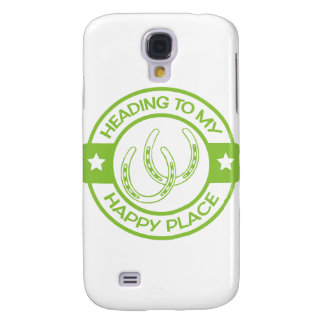 A258 happy place horseshoes lime green galaxy s4 case